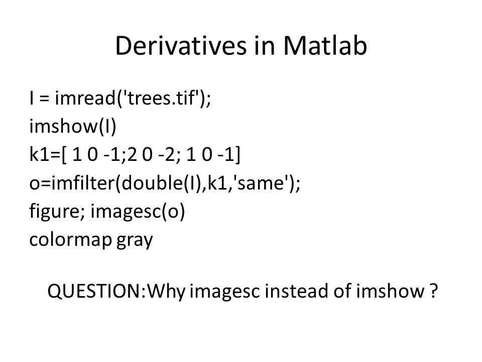 Derivatives in Matlab