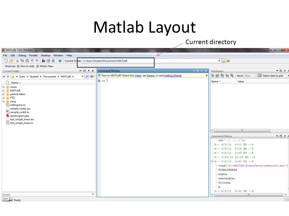 Matlab Layout Current directory