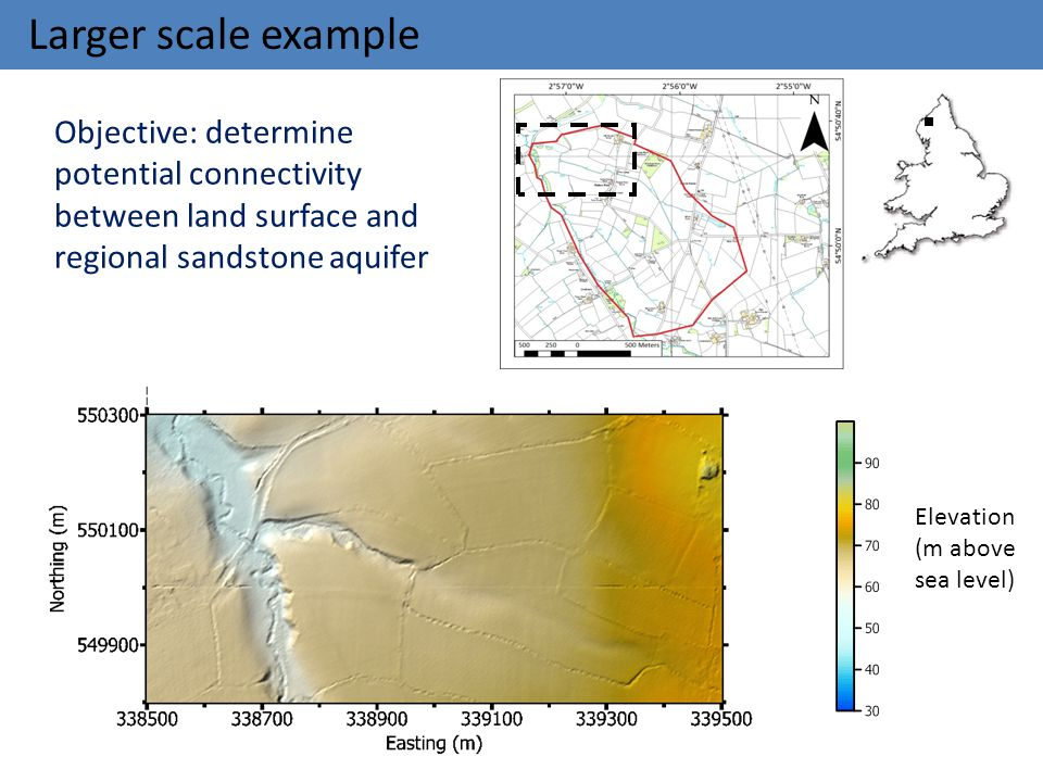 Larger scale example Objective: determine potential connectivity between land surface and regional sandstone aquifer.
