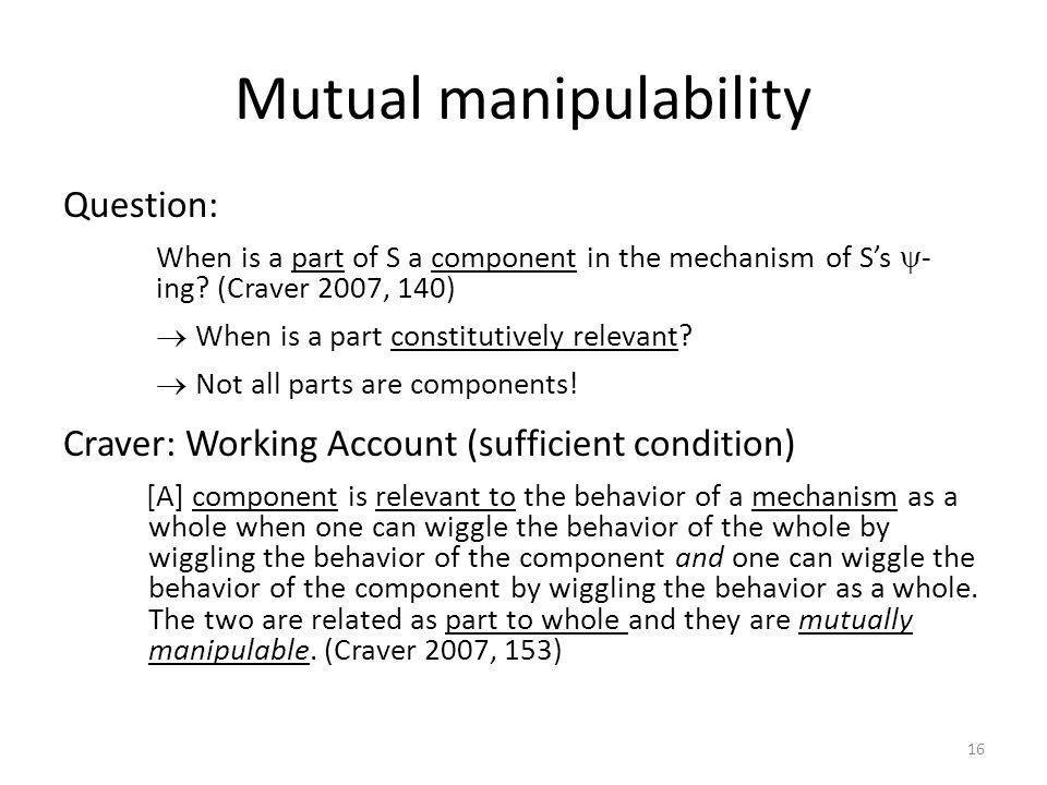 Mutual manipulability