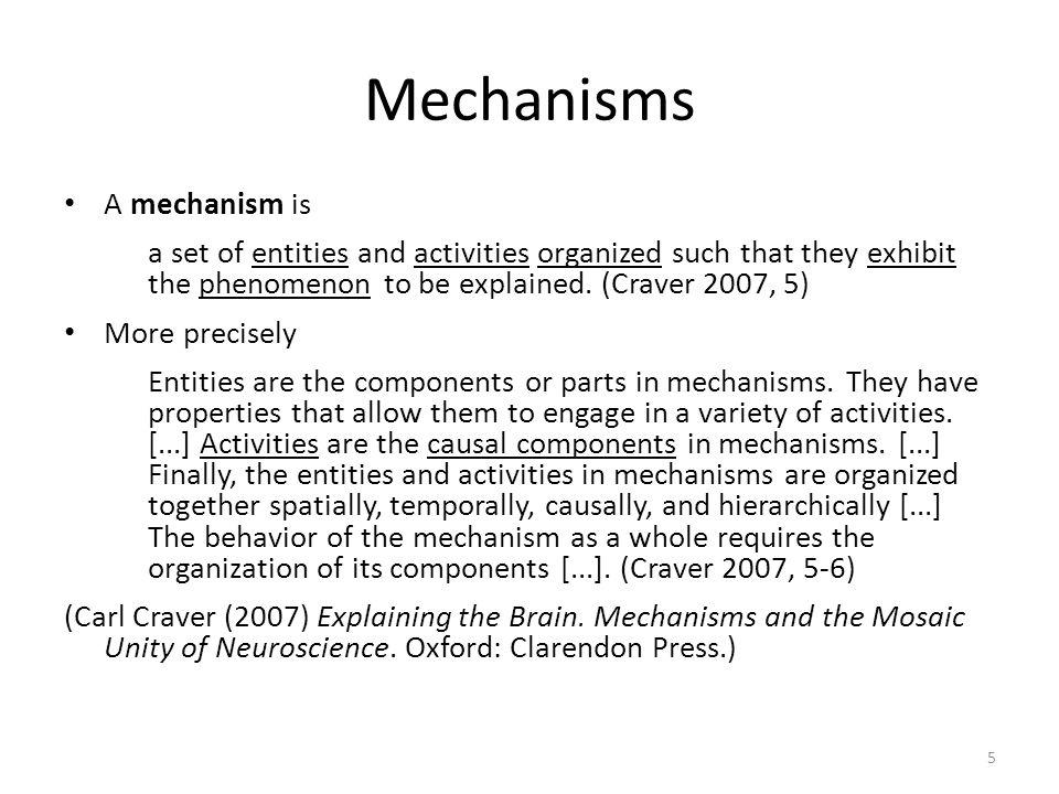 Mechanisms A mechanism is