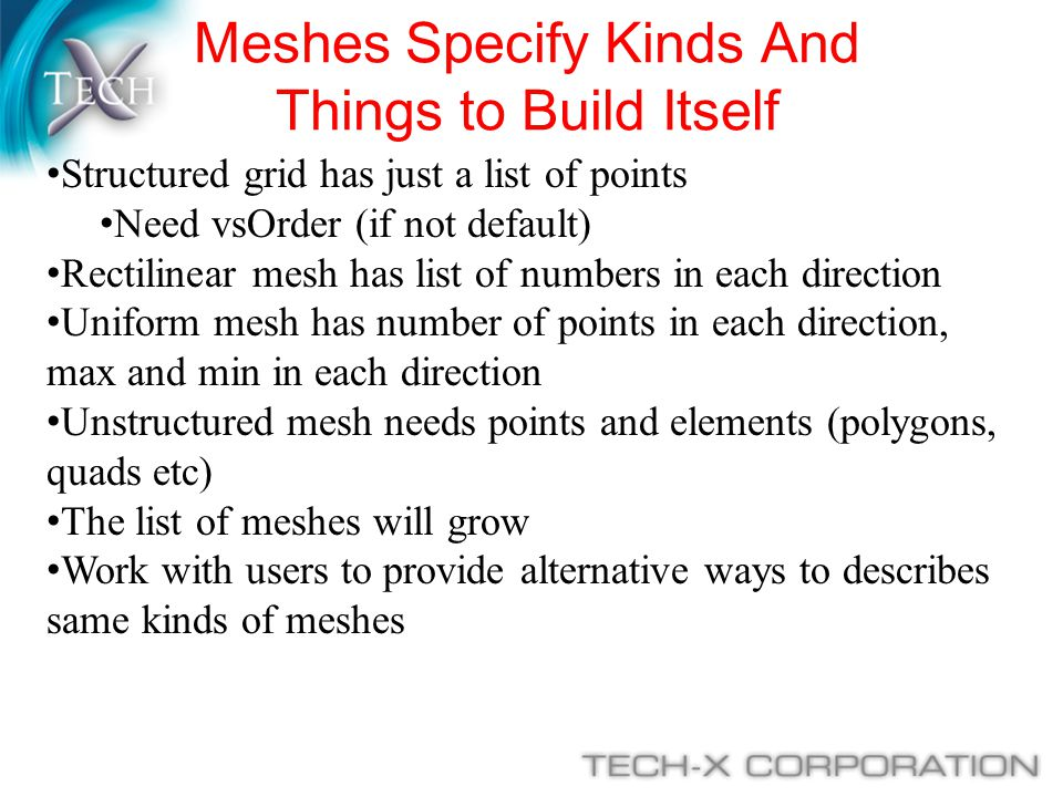 Meshes Specify Kinds And Things to Build Itself