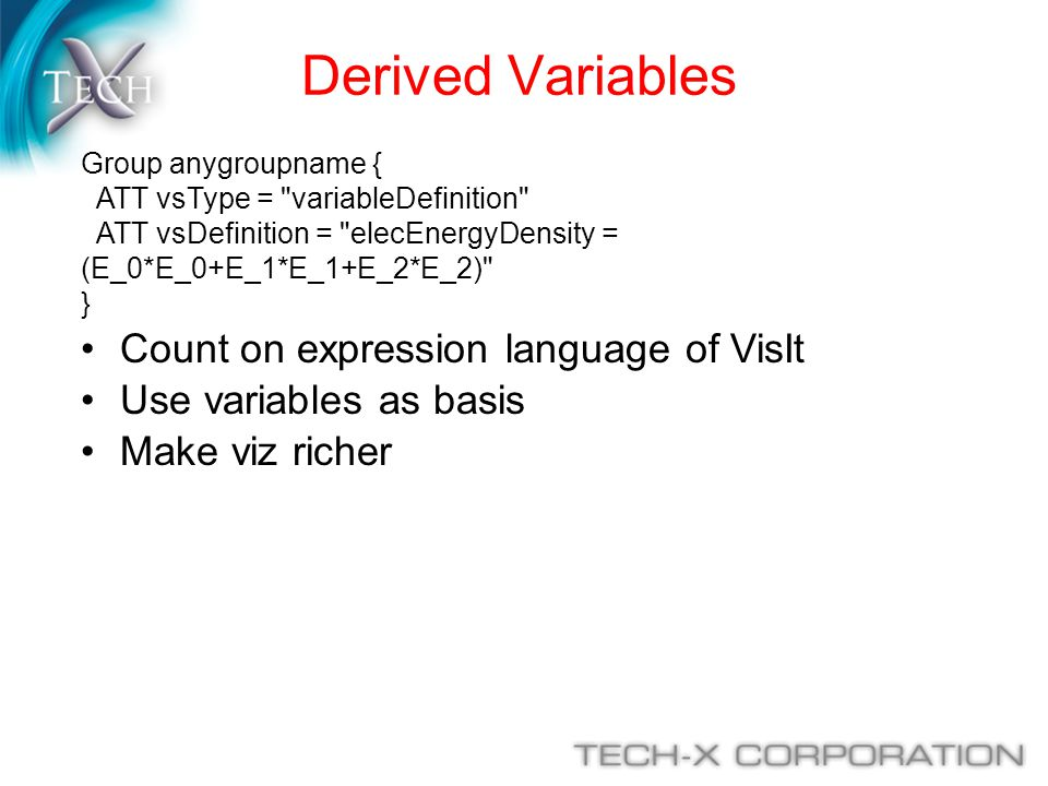 Derived Variables Count on expression language of VisIt