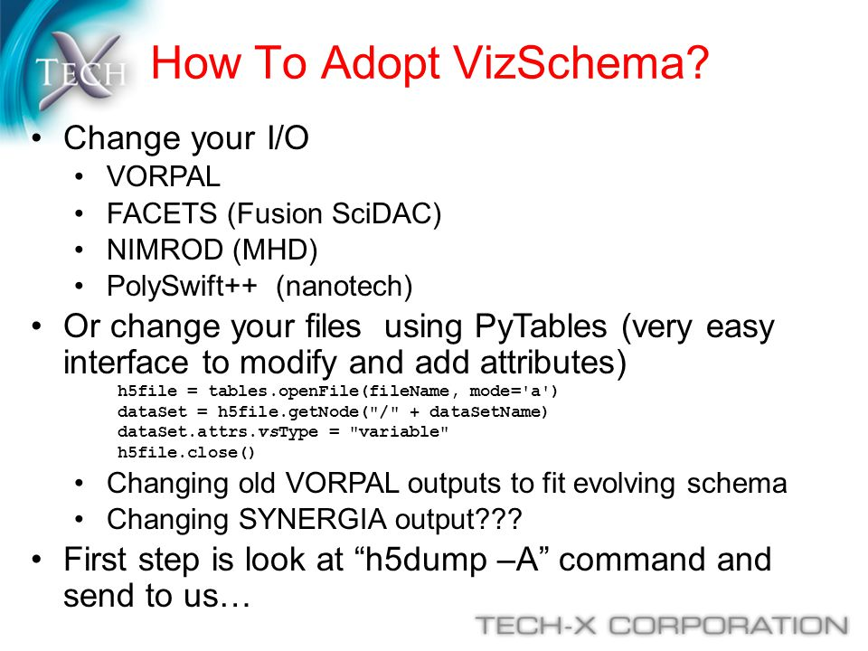 How To Adopt VizSchema Change your I/O