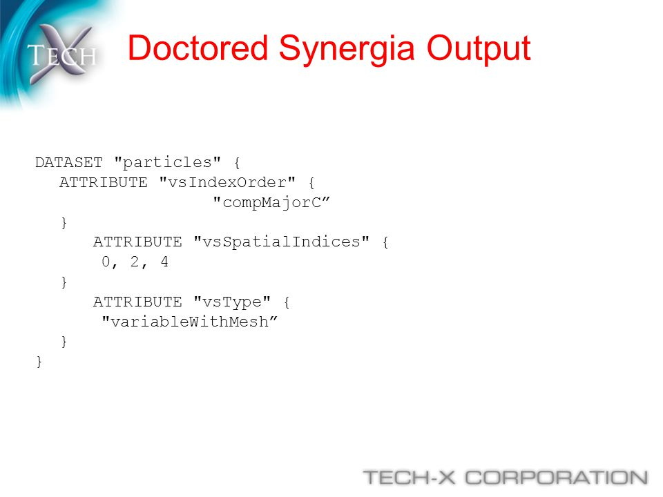 Doctored Synergia Output