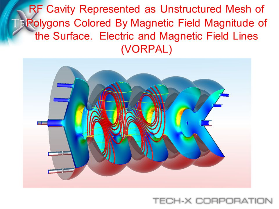 RF Cavity Represented as Unstructured Mesh of Polygons Colored By Magnetic Field Magnitude of the Surface.