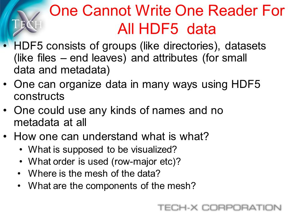 One Cannot Write One Reader For All HDF5 data