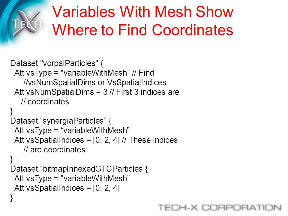 Variables With Mesh Show Where to Find Coordinates