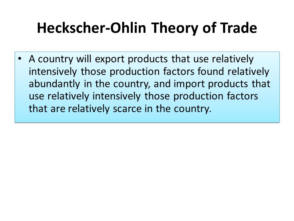 Heckscher-Ohlin Theory of Trade