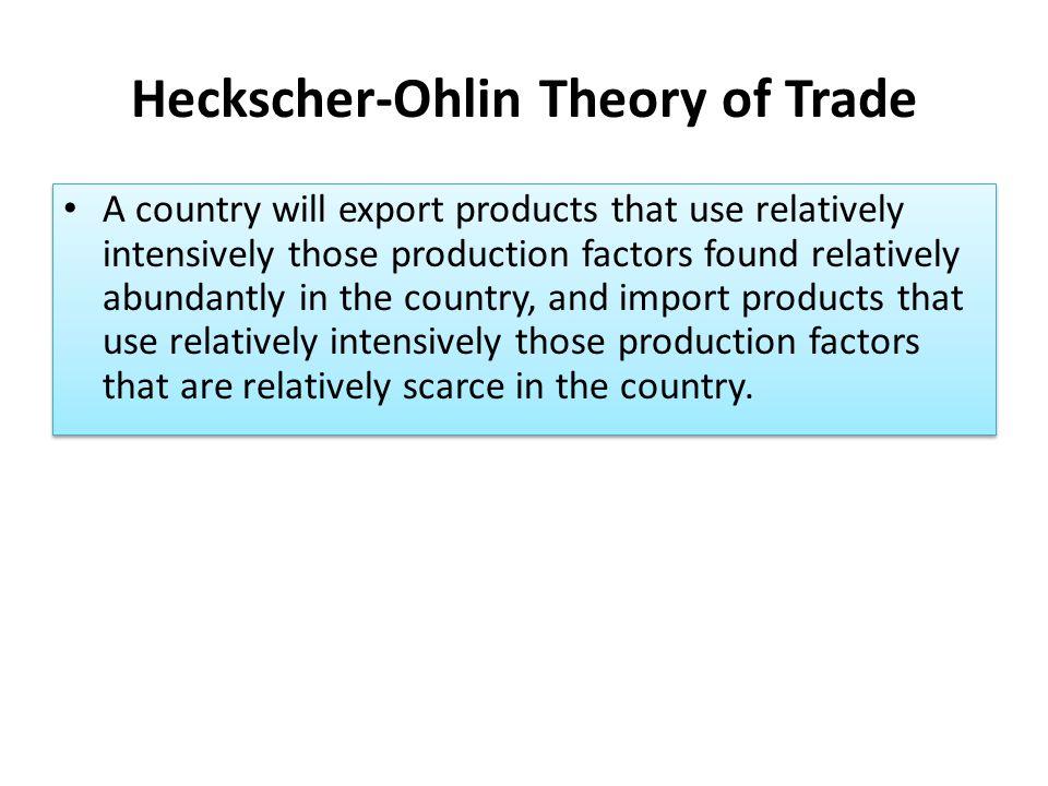 Heckscher-Ohlin Theory of Trade