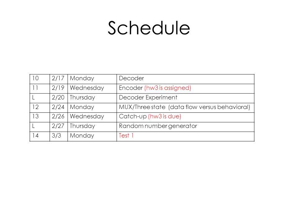 Schedule 10 2/17 Monday Decoder 11 2/19 Wednesday