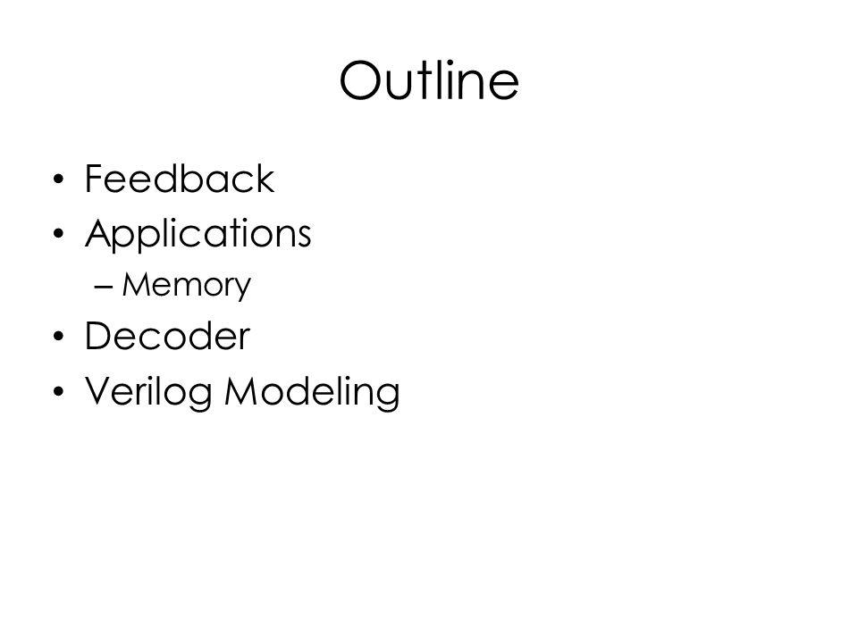Outline Feedback Applications Memory Decoder Verilog Modeling