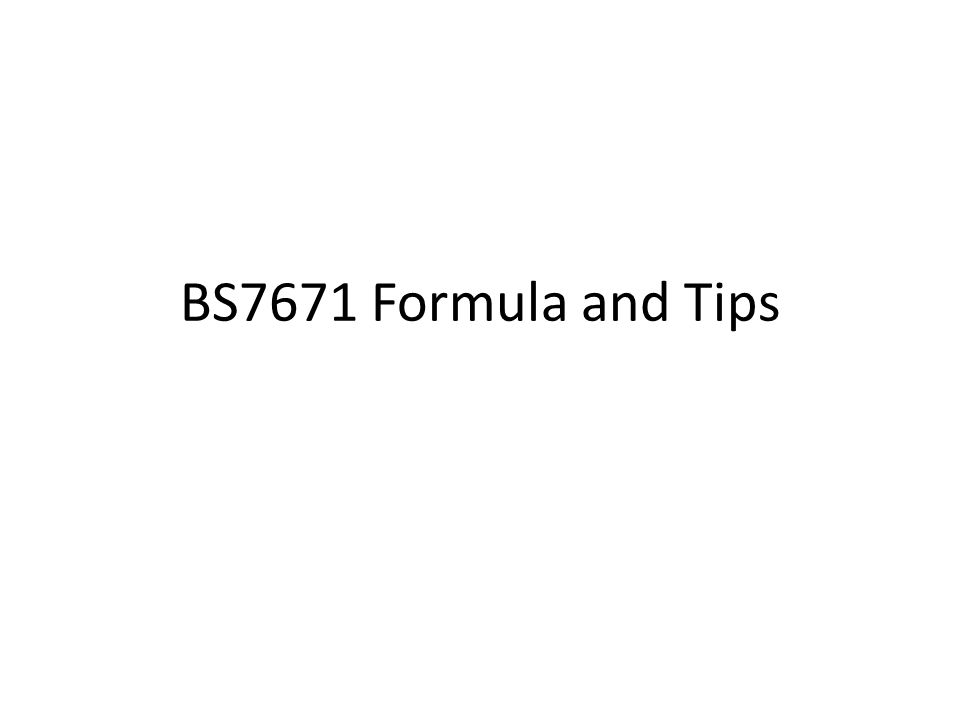 BS7671 Formula and Tips