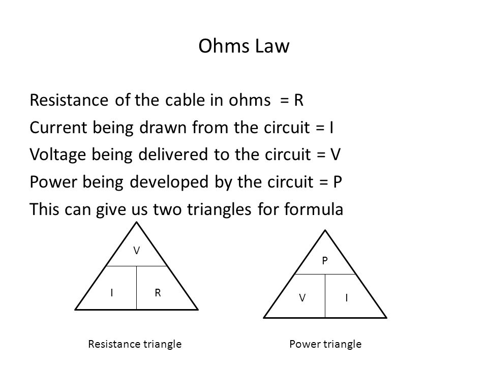 Ohms Law Resistance of the cable in ohms = R