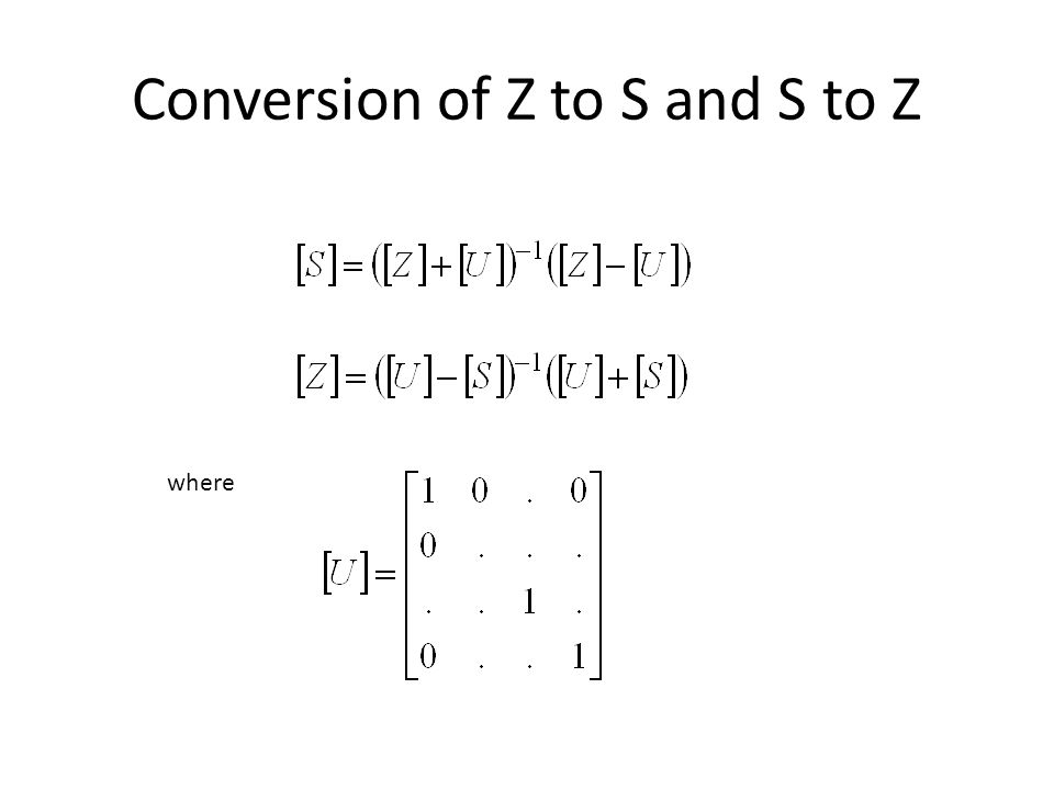 Conversion of Z to S and S to Z