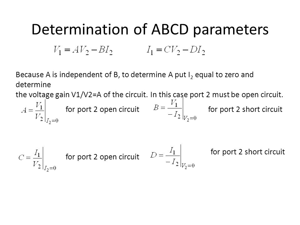 Determination of ABCD parameters