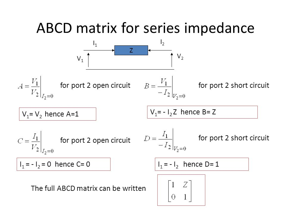 ABCD matrix for series impedance