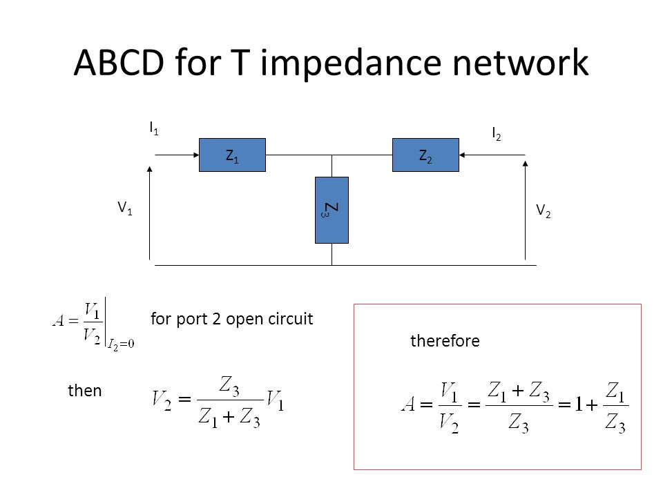 ABCD for T impedance network