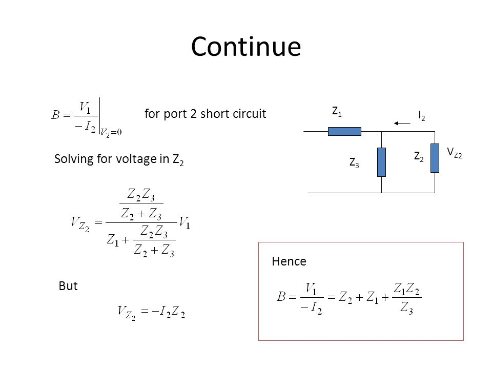 Continue for port 2 short circuit Solving for voltage in Z2 Hence But