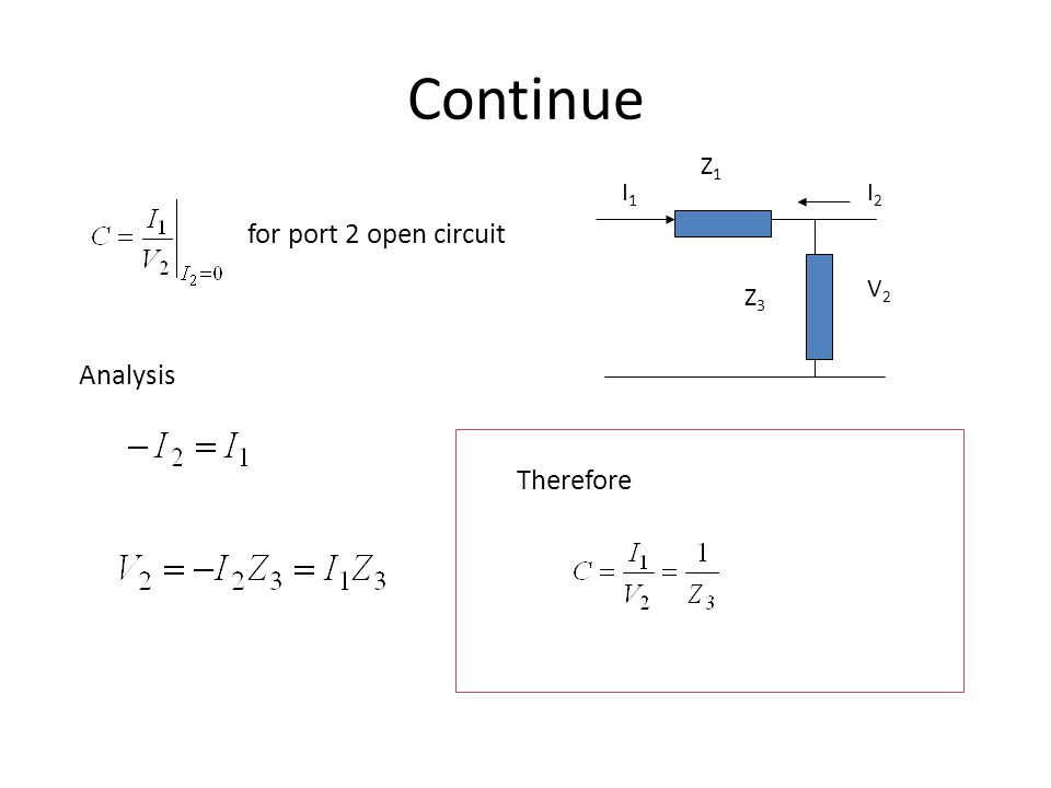 Continue Z1 I1 I2 for port 2 open circuit V2 Z3 Analysis Therefore