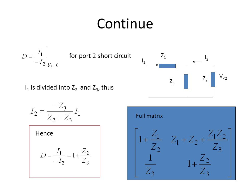 Continue for port 2 short circuit I1 is divided into Z2 and Z3, thus