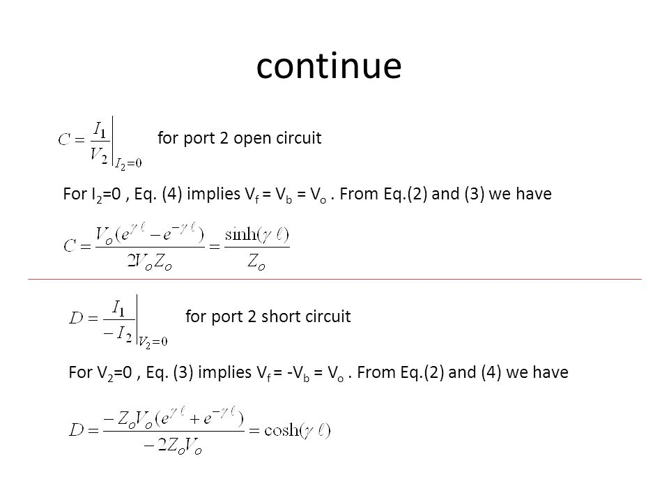 continue for port 2 open circuit