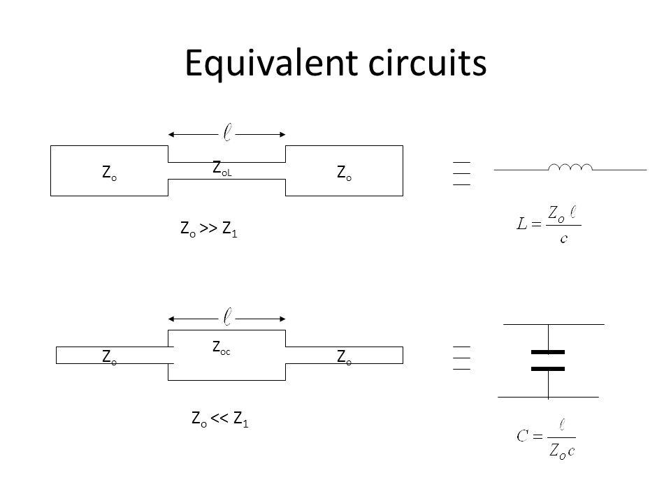 Equivalent circuits ZoL Zo Zo Zo >> Z1 Zoc Zo Zo Zo << Z1