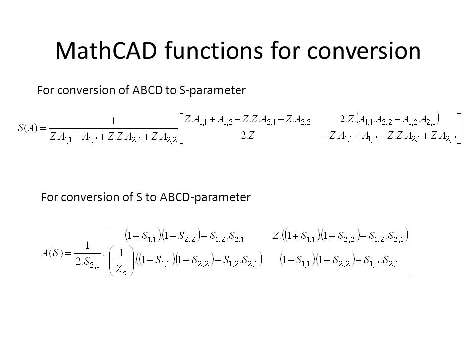 MathCAD functions for conversion