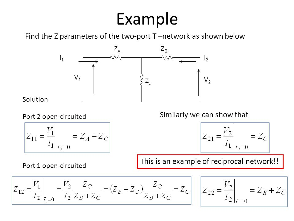 Example Find the Z parameters of the two-port T –network as shown below. I1. I2. V1. V2. Solution.