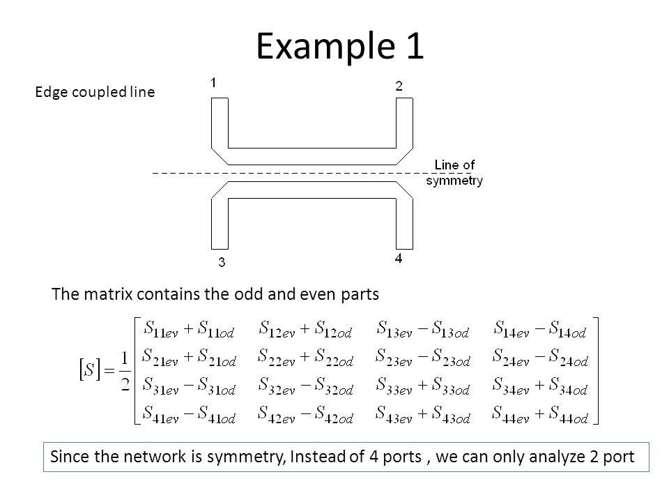Example 1 The matrix contains the odd and even parts