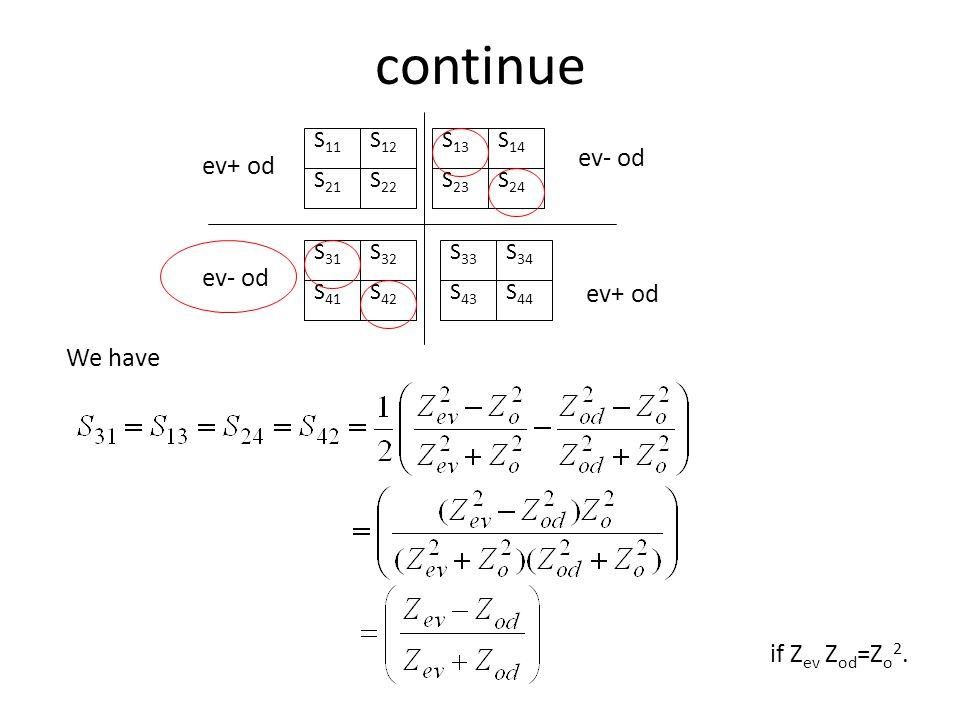 continue ev- od ev+ od ev- od ev+ od We have if Zev Zod=Zo2. S11 S21