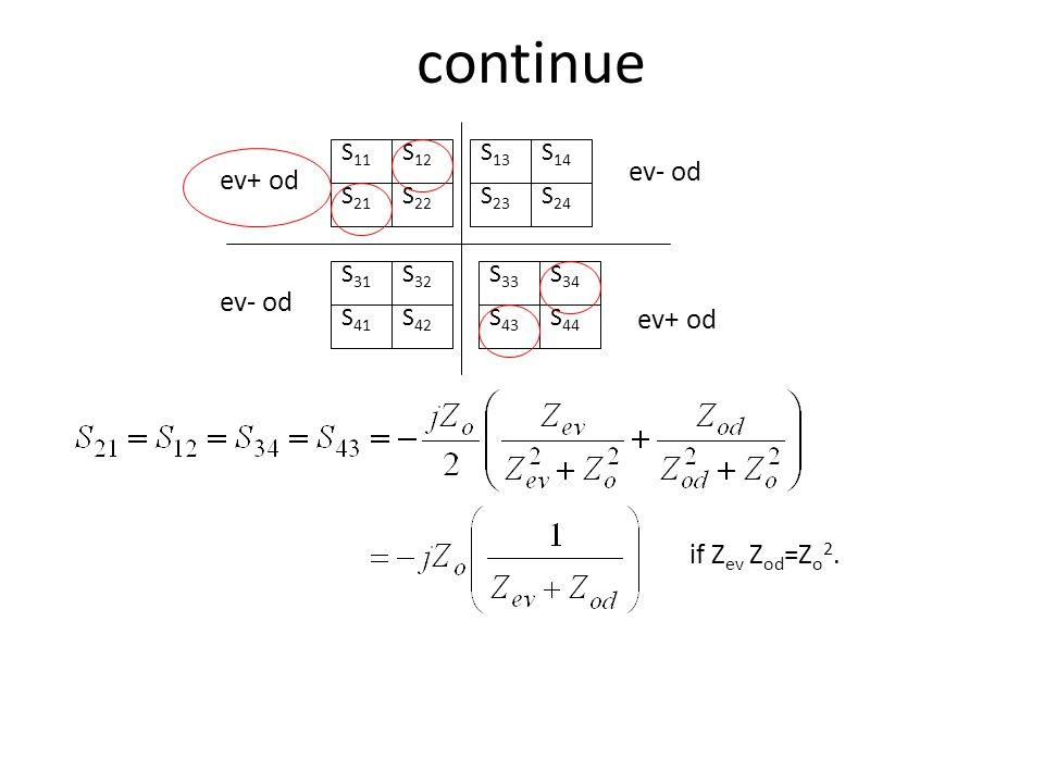 continue ev- od ev+ od ev- od ev+ od if Zev Zod=Zo2. S11 S21 S12 S22