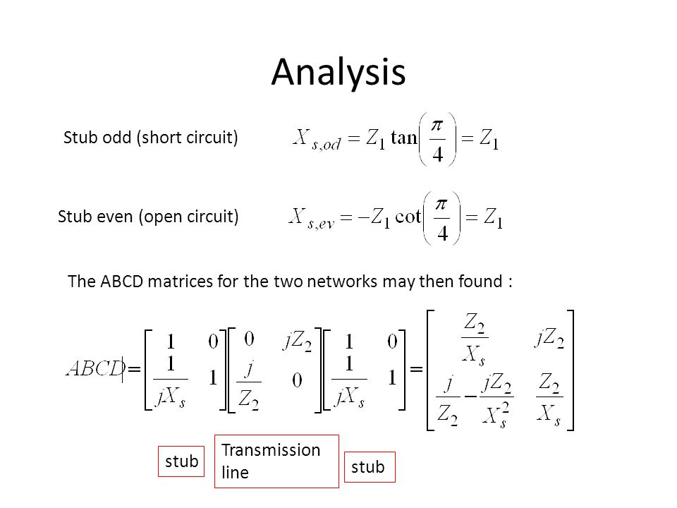 Analysis Stub odd (short circuit) Stub even (open circuit)