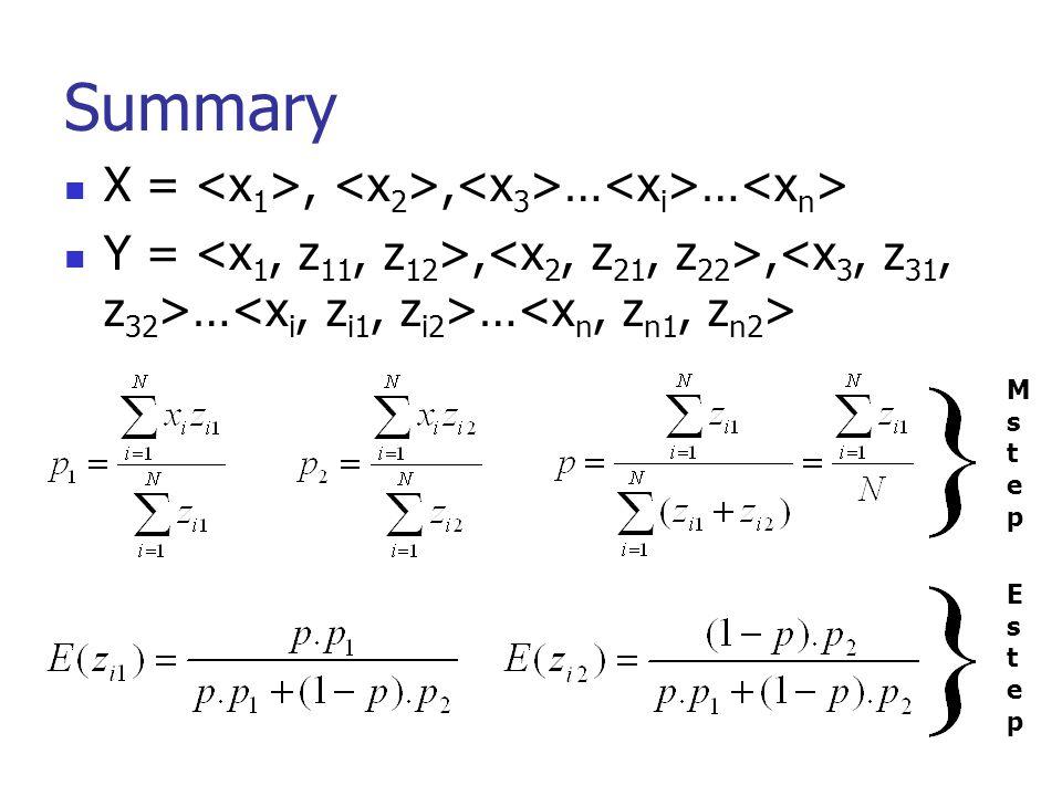 Summary X = <x1>, <x2>,<x3>…<xi>…<xn>