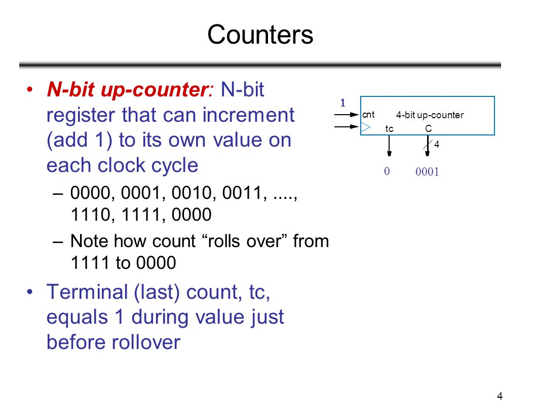 Counters N-bit up-counter: N-bit register that can increment (add 1) to its own value on each clock cycle.