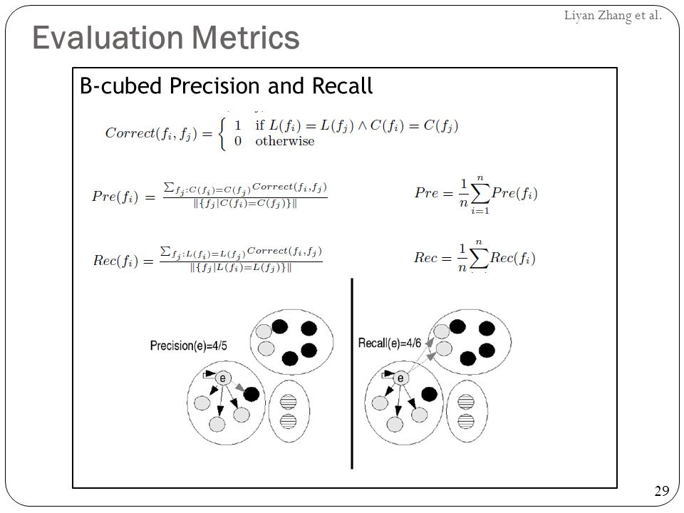 Evaluation Metrics B-cubed Precision and Recall