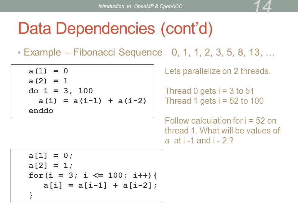Data Dependencies (cont'd)