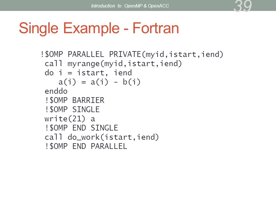 Single Example - Fortran