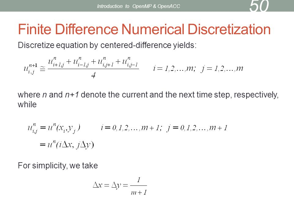 Finite Difference Numerical Discretization