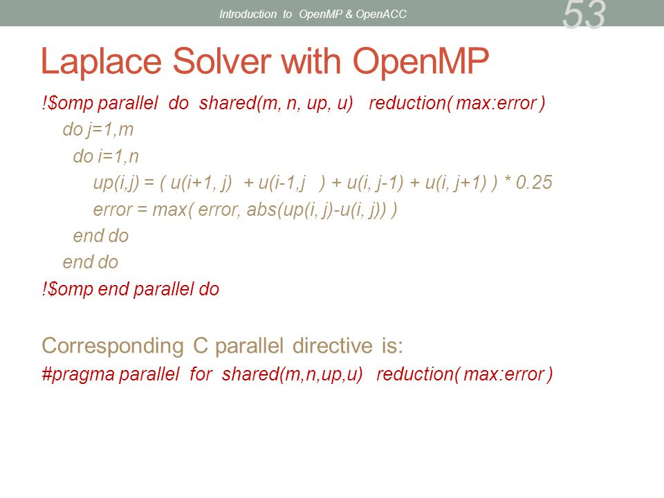 Laplace Solver with OpenMP