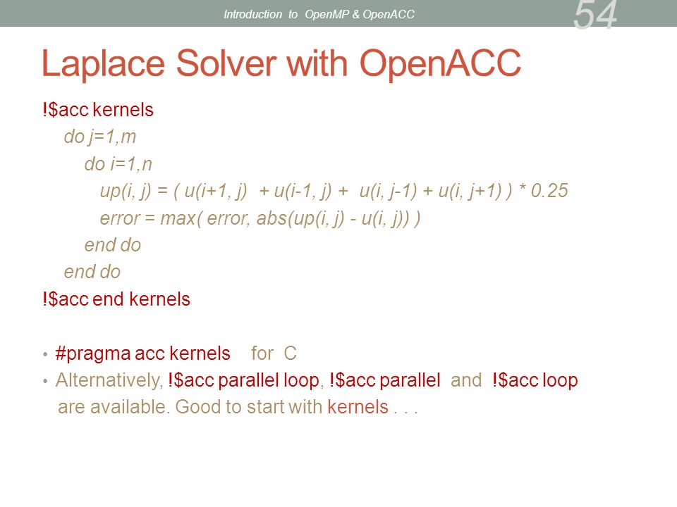 Laplace Solver with OpenACC
