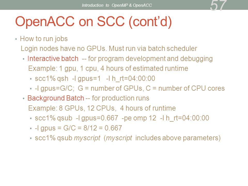 OpenACC on SCC (cont'd)
