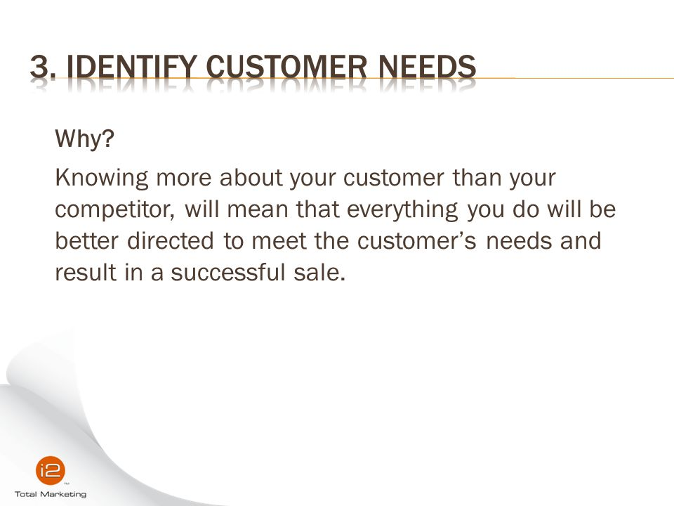 3. Identify Customer Needs