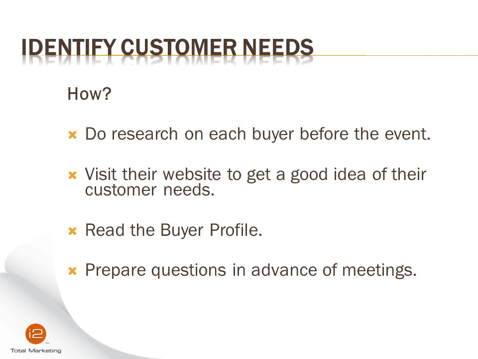 Identify Customer Needs