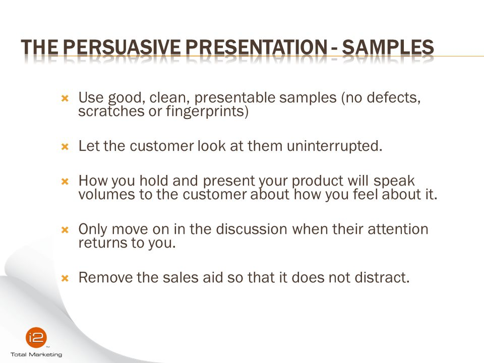 The Persuasive Presentation - Samples