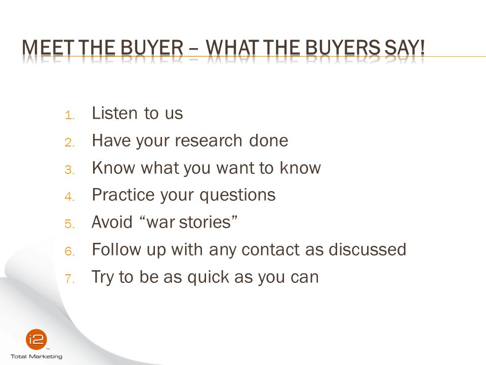 Meet the Buyer – What the buyers say!