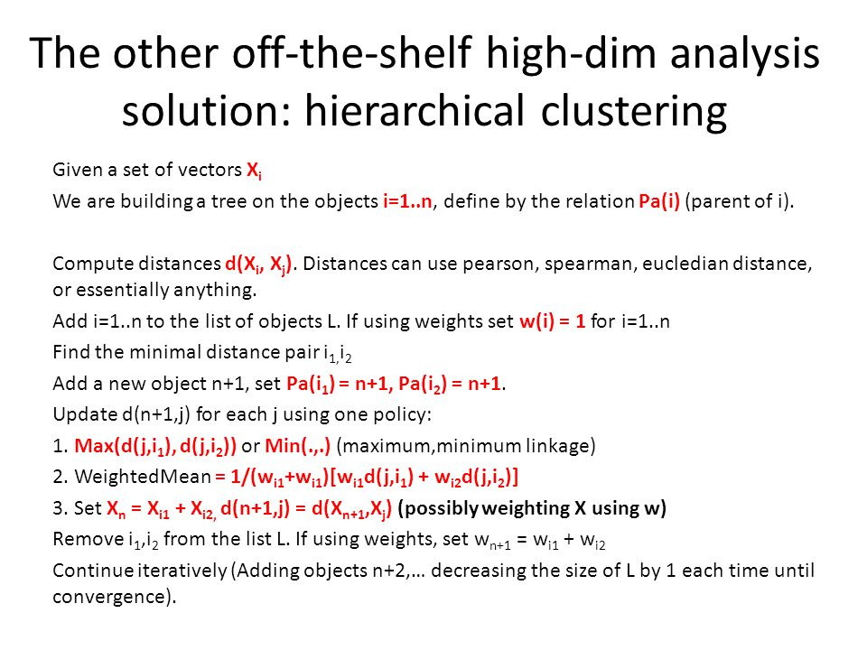 The other off-the-shelf high-dim analysis solution: hierarchical clustering