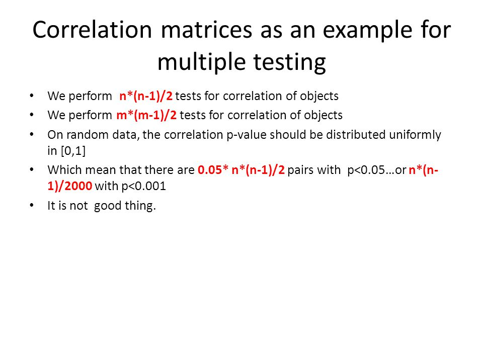 Correlation matrices as an example for multiple testing