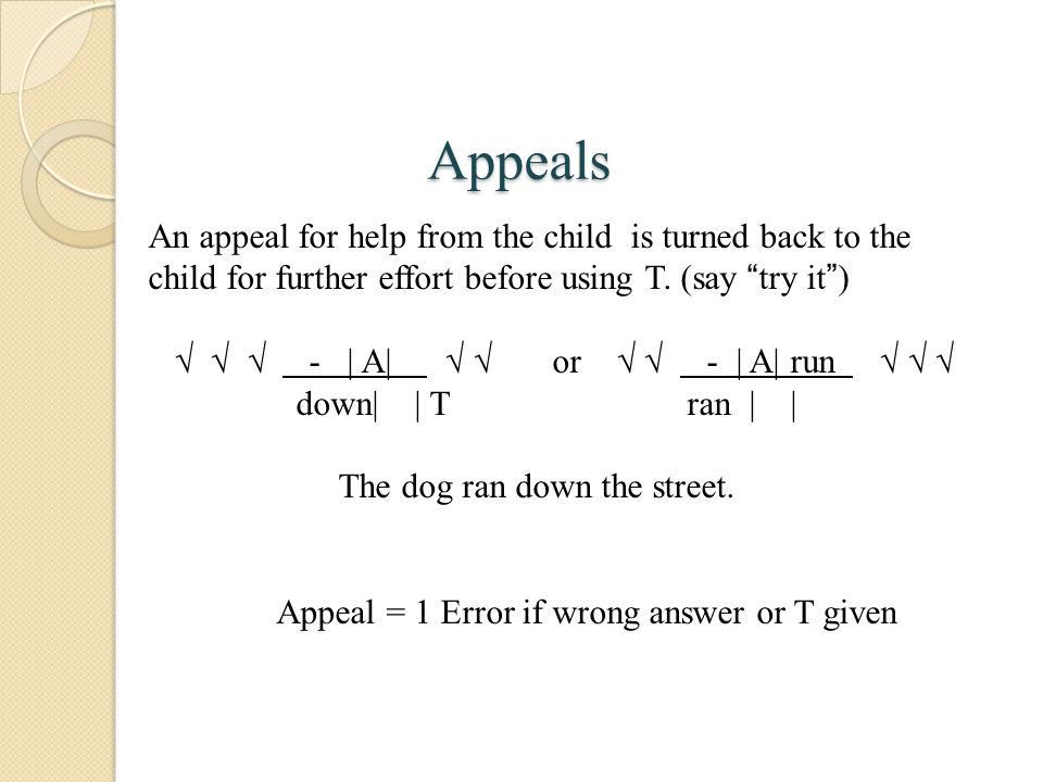 Appeals An appeal for help from the child is turned back to the child for further effort before using T. (say try it )