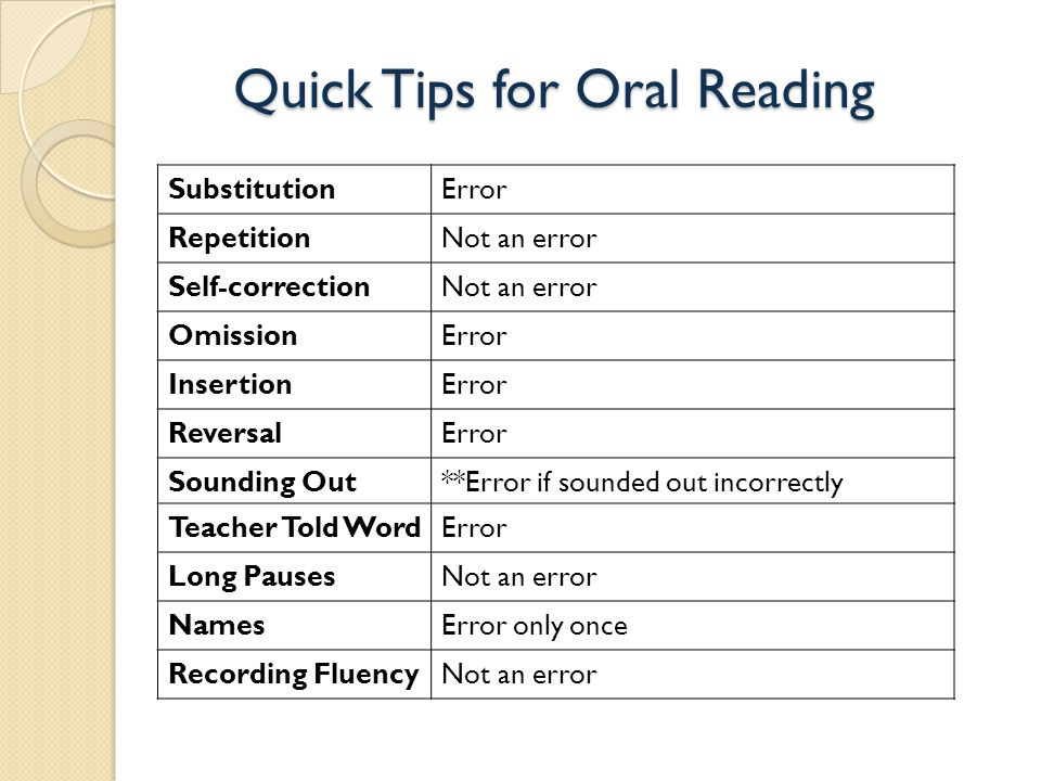 Quick Tips for Oral Reading